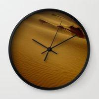 greg guillemin Wall Clocks featuring Greg Katz Sahara Desert  by Artlala for MSF Doctors Without Borders