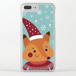 Xmas fox Clear iPhone Case