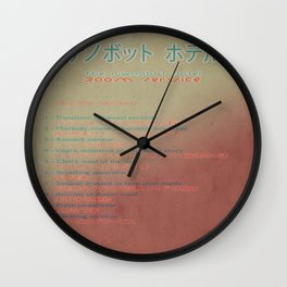 The Nanobot Hotel Room Service Pamphlet Wall Clock