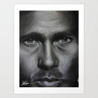brad pitt Art Prints featuring Brad Pitt by Future Illustrations- Artwork by Julie C