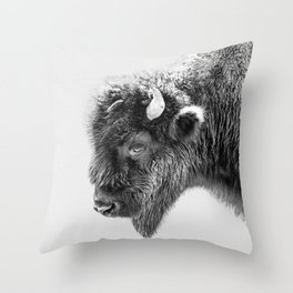 Animal Photography   Bison Portrait   Black and White   Minimalism Throw Pillow