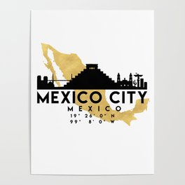 MEXICO CITY MEXICO SILHOUETTE SKYLINE MAP ART Poster