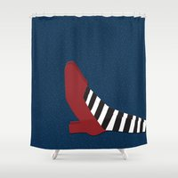 shoe Shower Curtains featuring Oz shoe by Priscylla Cabral