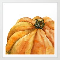 pumpkin Art Prints featuring Pumpkin by Cindy Lou Bailey