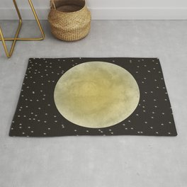 Moon shining in sky with stars Rug