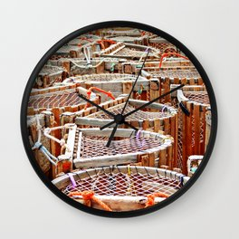 Traditional Lobster Traps Wall Clock