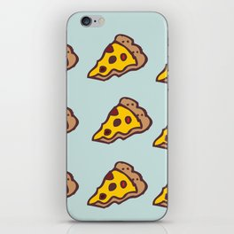 Pizza Pattern with Teal Background iPhone Skin