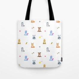 Cute pink blue orange watercolor animal pattern Tote Bag
