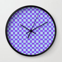Blue Violet Cell Checks Wall Clock
