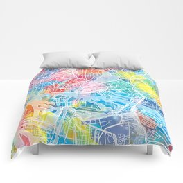 hamburg map watercolor Comforters