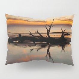 Driftwood on the beach at sunrise Pillow Sham