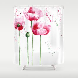 Expressive poppies || watercolor Shower Curtain