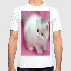 beyaz kedi White Mens Fitted Tee MEDIUM