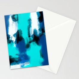 blue black and dark blue painting abstract with white background Stationery Cards