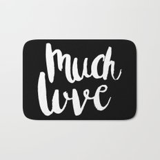 Much love - Black and white brush lettering Bath Mat