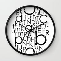 typo Wall Clocks featuring typo by Catherine_S