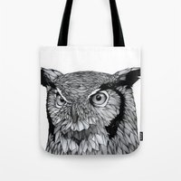 owl Tote Bags featuring Owl by Puddingshades