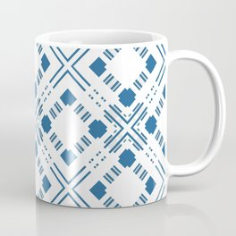 Blue and white geometric pattern . Coffee Mug