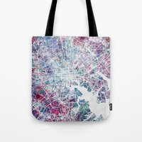 baltimore Tote Bags featuring Baltimore by MapMapMaps.Watercolors