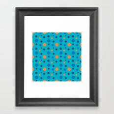 Blue and Orange dots on Blue Framed Art Print