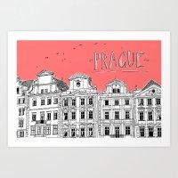 prague Art Prints featuring Prague by jeune-jaune