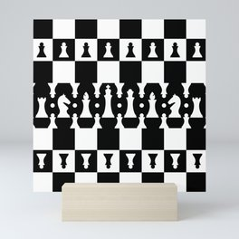 Chess Pieces Pattern - black and white Mini Art Print