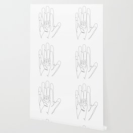 Family of Three Hands in One Line Art Wallpaper