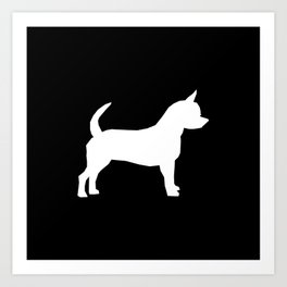 Chihuahua silhouette black and white pet art dog pattern minimal chihuahuas Art Print
