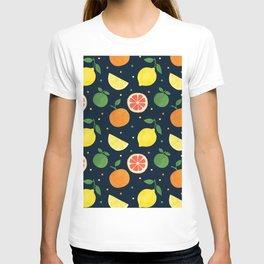 Modern navy blue orange yellow fruit polka dots T-shirt