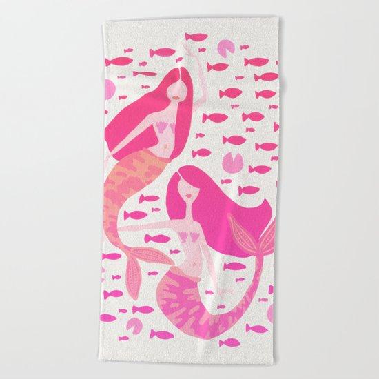 Koi Mermaids – Pink Palette Beach Towel