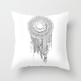 Shifting Moon Tide Dream Catcher Mandala Throw Pillow