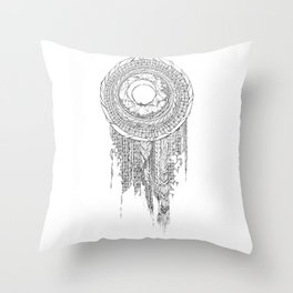 Shifting Moon Tide Dream Catcher Mandala Throw Pillow