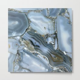 Golden Aqua Marble Metal Print