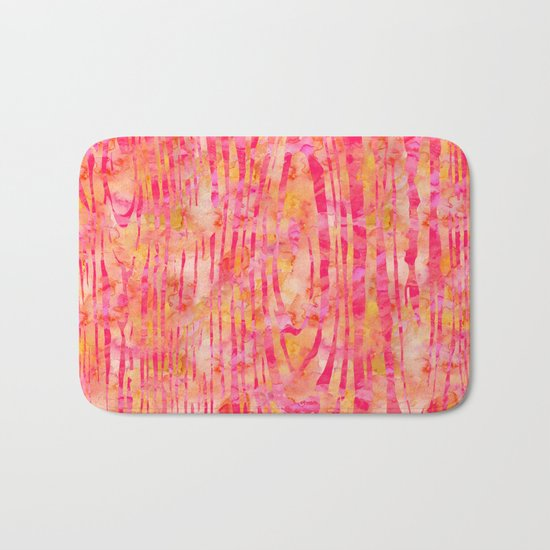 Orange Wood Print Bath Mat
