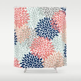 Floral Bloom Print, Living Coral, Pale Aqua Blue, Gray, Navy Shower Curtain