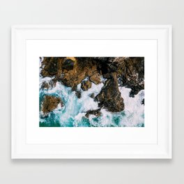 Ocean Waves Crushing On Rocky Landscape, Drone Photography, Aerial Landscape Photo, Ocean Wall Art Framed Art Print
