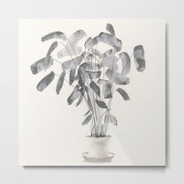 Plant in ink Metal Print