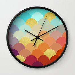 Golden and colorful spheres V Wall Clock