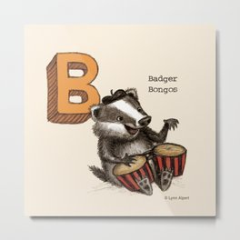 Animals & Instruments ABCs – B Metal Print