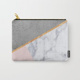 Marble Blush Gold gray Geometric Carry-All Pouch
