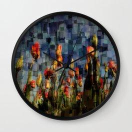 Champ de Tulipes Mosaïque Wall Clock