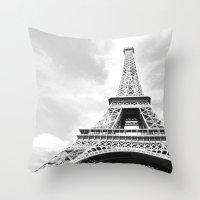 eiffel Throw Pillows featuring Eiffel by Fallon Chase