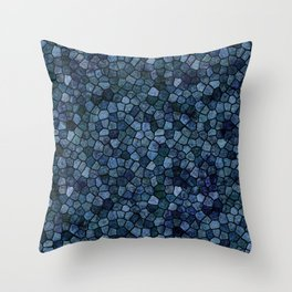 Blue Lagoon Midnight Rippled Water Abstract Throw Pillow