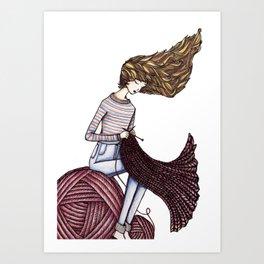 The Windy Knitter Art Print