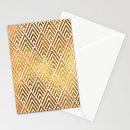 Gold foil triangles on pink - Elegant and luxury triangle pattern Stationery Cards