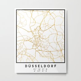 DÜSSELDORF GERMANY CITY STREET MAP ART Metal Print