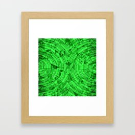 psychedelic geometric circle pattern abstract background in green Framed Art Print