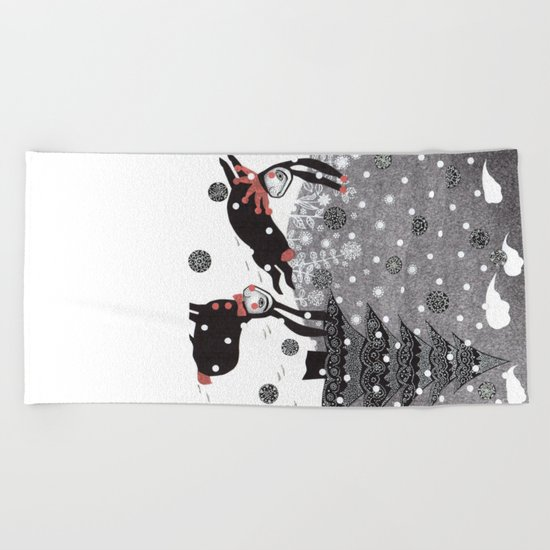 Snow Carnival Beach Towel