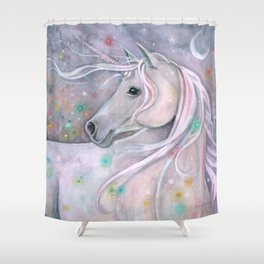 Twinkling Lights Unicorn Fantasy Watercolor Art by Molly Harrison Shower Curtain