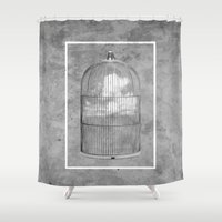 nicolas cage Shower Curtains featuring Cloud Cage by Mehdi Elkorchi